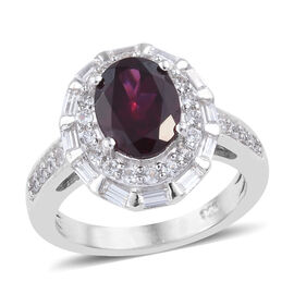 3.25 Ct Rhodolite Garnet and Zircon Halo Ring in Platinum Plated Silver