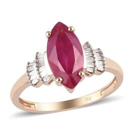 9K Yellow Gold AA African Ruby and White Diamond Ring 2.60 Ct.