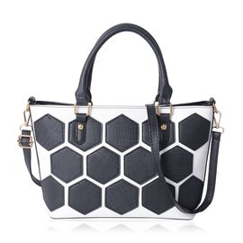Monochrome Classic Tote Bag with Removable Shoulder Strap (Size 34x27x21x11 Cm)