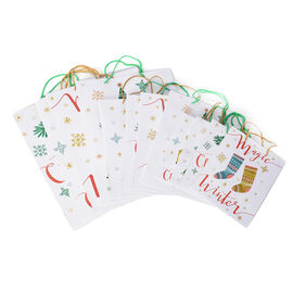 Mega Stocking Filler-12 piece set Christmas Tree and Socks Pattern Paper Bag with Durable Rope Handles