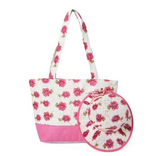 2 Piece Set - Flower Pattern Tote Bag with Zipper Closure (Size 44x30x14 Cm) and Hat with Bowknot (S