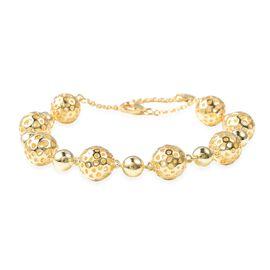 RACHEL GALLEY Globe Alternate Bead Bracelet in Gold Plated Silver 20.65 Grams 7.5 to 8.5 Inch