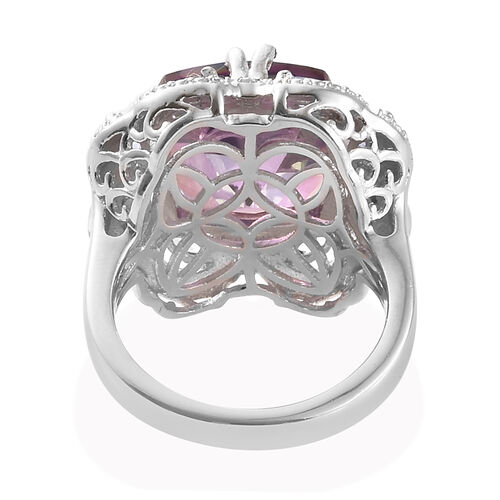 Lullaby Mystic Topaz (Cush 9.04 Ct),Tanzanite and Diamond Ring in Platinum Overlay Sterling Silver 9.750 Ct, Silver wt 5.24 Gms.