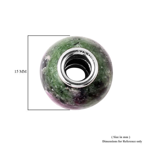 Charms De Memoire - Ruby Zoisite Charm in Rhodium Overlay Sterling Silver 19.00 Ct.
