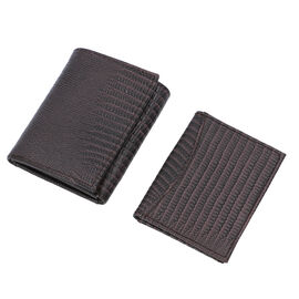 Close Out Deal- 2 Piece Set 100% Genuine Leather RFID Protected Trifold Wallet (Size 23x10 Cm, 15x10