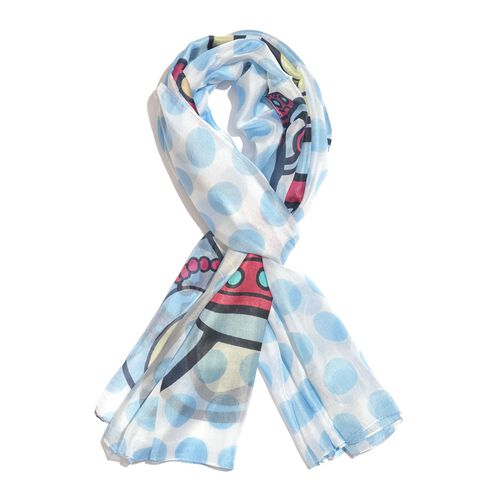 100% Mulberry Silk Blue, Red and Multi Colour Handscreen Teddy Bear Printed Scarf (Size 180X100 Cm)