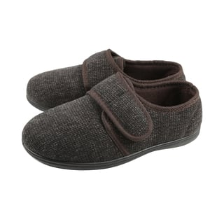 Dunlop Mens Strap Slippers with Faux Fur Lining and Memory In-Sock (Size 7) - Brown