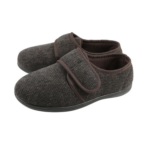 Dunlop Mens Strap Fastening Textured Slippers with Faux Fur Lining and Memory In-Sock (Size 10) - Brown