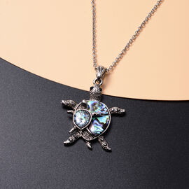 Abalone Shell, Black Austrian Crystal and Simulated Grey Spinel Turtle Pendant with Chain (Size 20 with 2 inch Extender) in Silver Tone