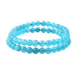 Russian Amazonite (Rnd) Double Row Stretchable Beads Bracelet (Size 7.25) in Rhodium Overlay Sterlin