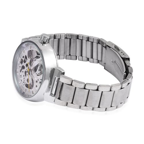 GENOA Automatic Mechanical Movement White Dial Water Resistant Watch in Silver Tone with Stainless Steel Back