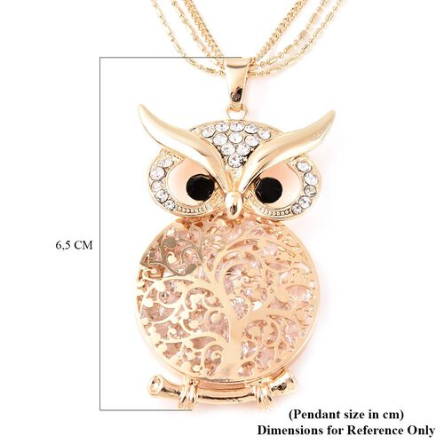 Black and White Austrian Crystal Owl Pendant with Chain (Size 28 with  3 inch Extender) in Gold Tone