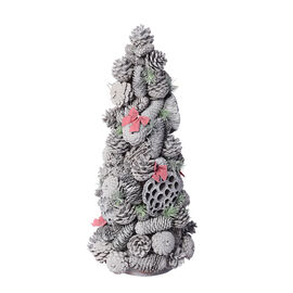 Pinecone Christmas Tree with Bowknot (Size 60x24cm)