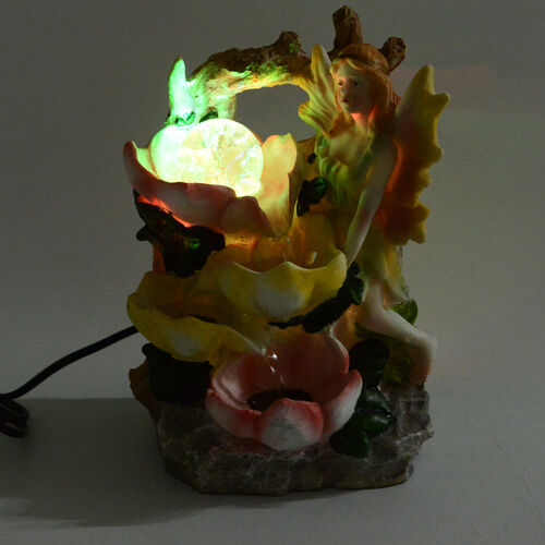 Home Decor -  Angel and Flower Water Fountain with LED Light