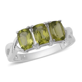 Hebei Peridot (Ovl), Russian Diopside and Natural Cambodian White Zircon Ring in Rhodium Overlay Ste