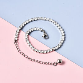 Simulated Diamond Tennis Style Bracelet (Size 7.5 with 2 inch Extender) in Silver Tone