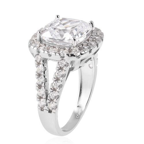 J Francis - Rhodium Overlay Sterling Silver Ring Made with SWAROVSKI ZIRCONIA 10.50 Ct.