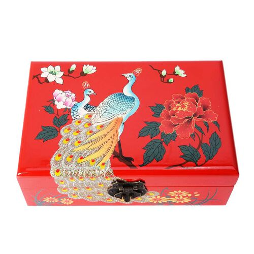 2 - Layer Peacock Pattern Jewellery Box with Inside Mirror and Removable Tray (Size 21x14x7.5 Cm) - Red