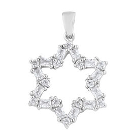 J Francis - Platinum Overlay Sterling Silver (Rnd and Bgt) Star Pendant Made With SWAROVSKI ZIRCONIA