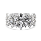 J Francis Platinum Overlay Sterling Silver Cluster Band Ring (Size O) Made with SWAROVSKI ZIRCONIA 4.05 Ct.