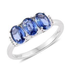 RHAPSODY AAAA Ceylon Blue Sapphire and Diamond Trilogy Ring in Platinum 2.25 Carat