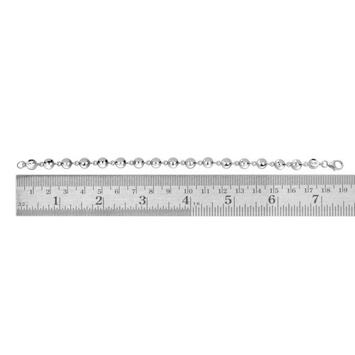 LucyQ Button Bracelet (Size 7.75) in Rhodium Plated Sterling Silver 13.00 Gms.