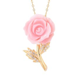 Jardin Collection - Pink Mother of Pearl and Natural White Cambodian Zircon Rose Pendant With Chain