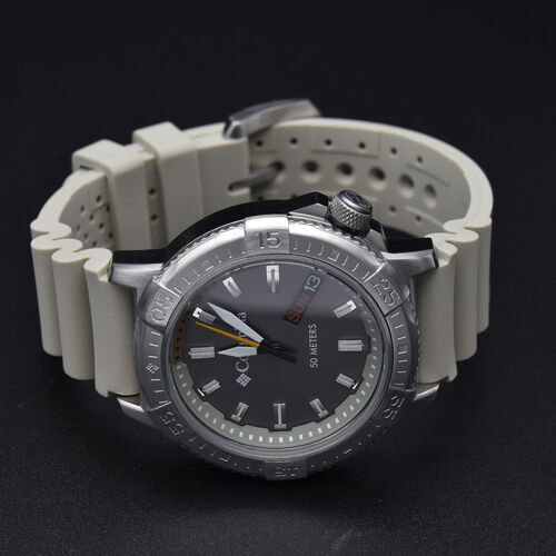 Columbia Peak Patrol Grey 3-Hand Day Date Khaki Silicone Watch