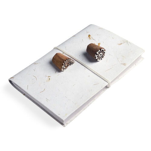 Hand Made - Set of Marigold Petals Embedded Paper Diary (26X18 Cm) and 2 Wooden Handblocks.