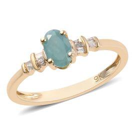 9K Yellow Gold AA Grandidierite (Ovl 6x4 mm), Natural Diamond Ring 0.50 Ct.