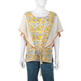 100% Cotton Floral Printed Top with Butterfly Style Lace Hem Sleeves (Size 65x82 Cm) - Yellow