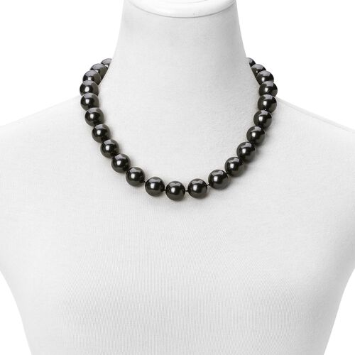 Rare Big Size Black Shell Pearl (16 mm) Ball Beads Necklace (Size 20) with Magnetic Clasp in Rhodium Plated Sterling Silver