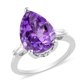 Moroccan Amethyst and Natural Cambodian Zircon Ring in Platinum Overlay Sterling Silver 5.25 Ct.