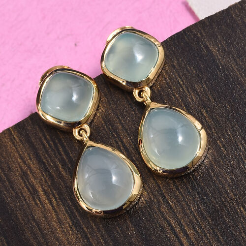 Aqua Chalcedony 8.50 Ct Silver Earrings (with Push Back) in Gold Overlay