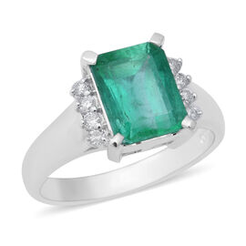 Signature Collection - 900 Platinum AAAA Boyaca Colombian Emerald (Oct 9x7mm), Diamond (I1-I2/G-H) R