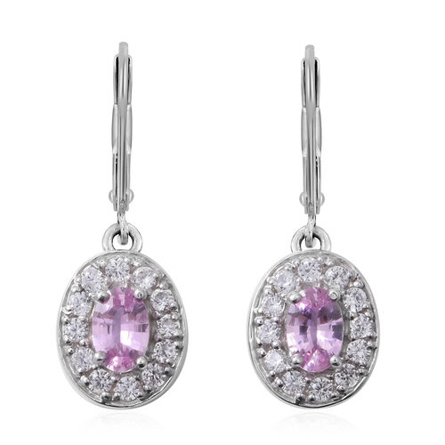 Pink Sapphire (Ovl), Natural White Cambodian Zircon Lever Back Earrings in Rhodium Overlay Sterling Silver 1.850 Ct