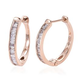 9K Rose Gold Natural Pink Diamond (Bgt) Hoop Earrings (with Clasp) 0.50 Ct.