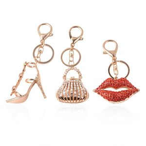 Set of 3 - Simulated Pearl, Red and Multicolour Austrian Crystal Sandal, Purse and Lips Enamelled Keychain in Gold Tone (Navigation Fashion & Home Accessories) photo