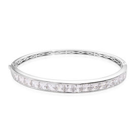 J Francis Made with Swarovski Zirconia Stacker Bangle in Platinum Plated Sterling Silver 18.89 Grams