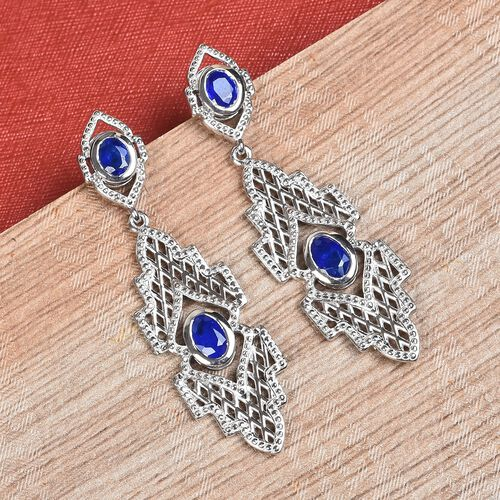 Tanzanian Blue Spinel Dangle Earrings (with Push Back) in Platinum Overlay Sterling Silver 1.75 Ct, Silver wt. 7.00 Gms