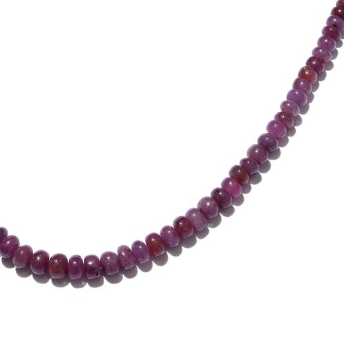 One Time Deal-Rare Size Mozambique Ruby Necklace (Size 18 with 2 Inch Extender) in Platinum Overlay Sterling Silver 73.600 Ct.