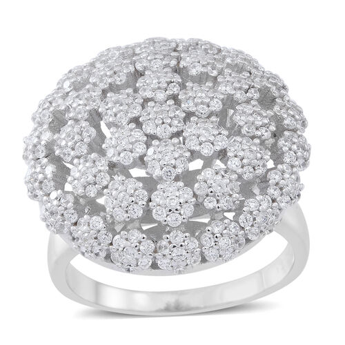 ELANZA AAA Simulated White Diamond (Rnd) Floral Ring in Rhodium Plated Sterling Silver, Silver wt 9.00 Gms. Number of Simulated White Diamonds 363