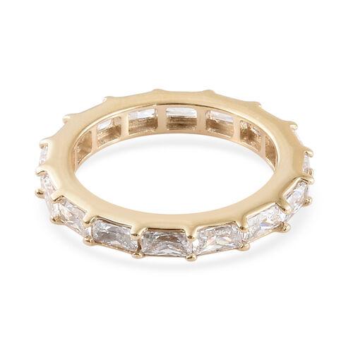 J Francis - 9K Yellow Gold (Bgt) Full Eternity Band Ring Made with SWAROVSKI ZIRCONIA, Gold wt 3.20 Gms.