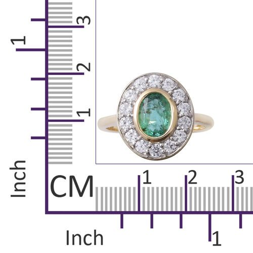 9K Yellow Gold AAA Kagem Zambian Emerald (Ovl 7x5 mm), Natural Cambodian White Zircon Cluster Ring 1.410 Ct.