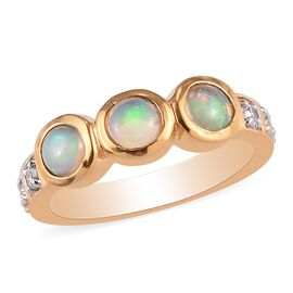 Ethiopian Opal and Natural Cambodian Zircon Ring in 14K Gold Overlay Sterling Silver 1.00 Ct.