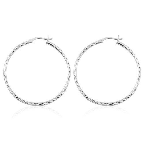 Sterling Silver Diamond Cut Hoop Earrings (with Clasp Lock), Silver wt. 3.60 Gms.