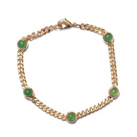 Green Jade (Rnd) Bracelet (Size 7.5) in 18K Yellow Gold Plated  3.500 Ct.