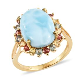 Larimar (Ovl 10.00 Ct), Multi Sapphire Ring in 14K Gold Overlay Sterling Silver 11.500 Ct
