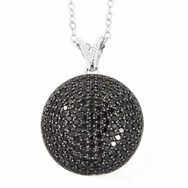 Boi Ploi Black Spinel (Rnd) Pendant With Chain in Sterling Silver 3.200 Ct, Silver wt 10.10 Gms, Number of Gemstone 170.