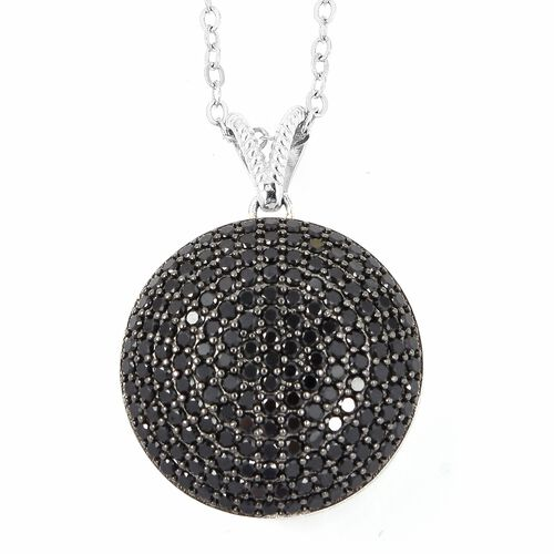 Super Auction- Boi Ploi Black Spinel (Rnd) Pendant With Chain in Sterling Silver   3.200 Ct, Silver wt 10.10 Gms, Number of Gemstone 170.